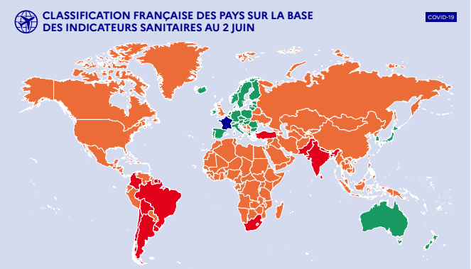 Carte des pays zones vertes - orange - rouge au 2 juin