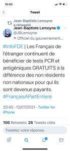 [# Covid-19] Les tests de dépistage en France payants pour les Français de l'étranger ?